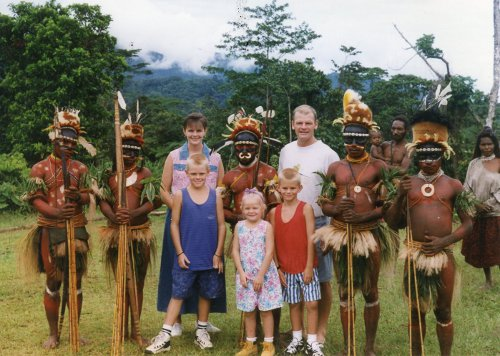Living among the people of Malaumanda. Ceremonial dress of the Malaumanda (circa 1995).